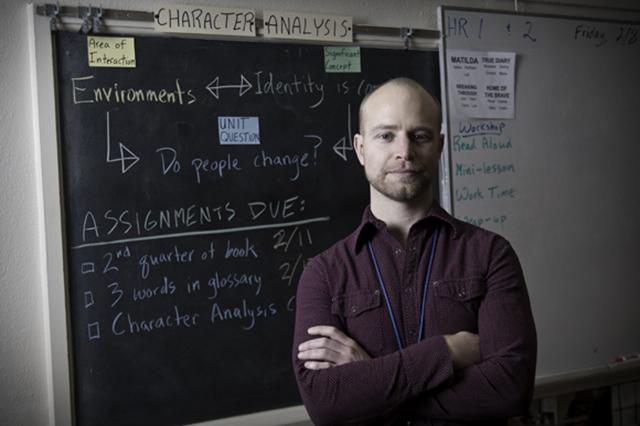 Ben Rengstorf teaches English as a Second Language at Roosevelt High School  Photo by Bill Kelley