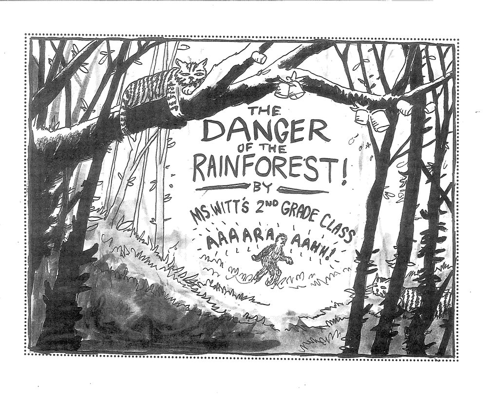 "This is ""The Danger of the Rainforest,"" cover art drawn by Taylor!"