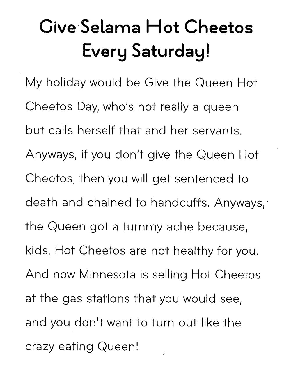 """This is """"Give Selama Hot Cheetos Every Saturday!"""" a piece written at the Writers' Table during After-School Homework Help and published in our semesterly chapbook,  Loud as a Crowd ."""