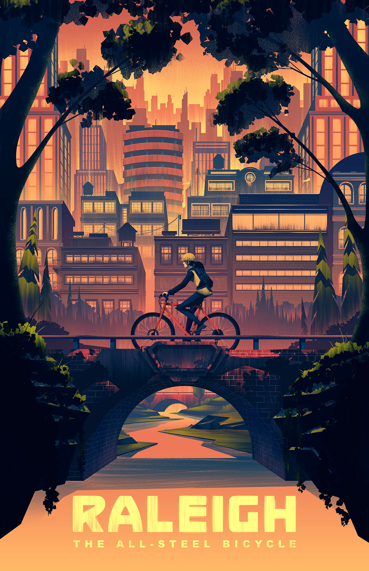 Raleigh Heritage Poster by Brian Miller