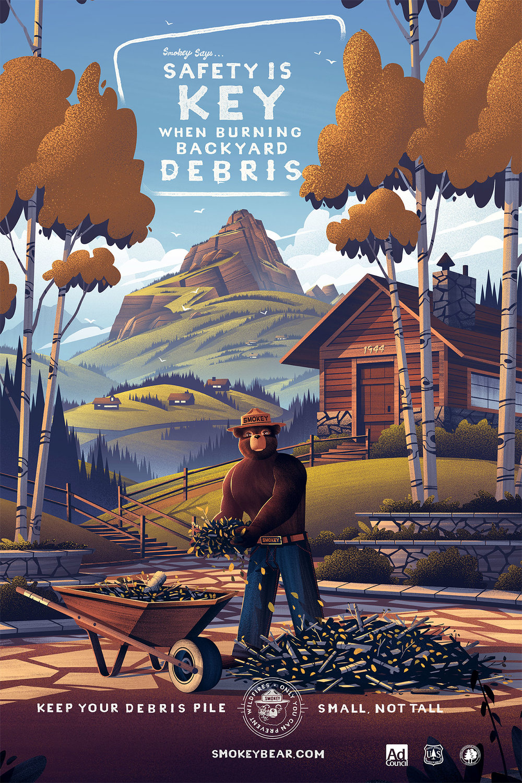 Smokey Bear  | Final Poster Illustration | Type by Luis Peña