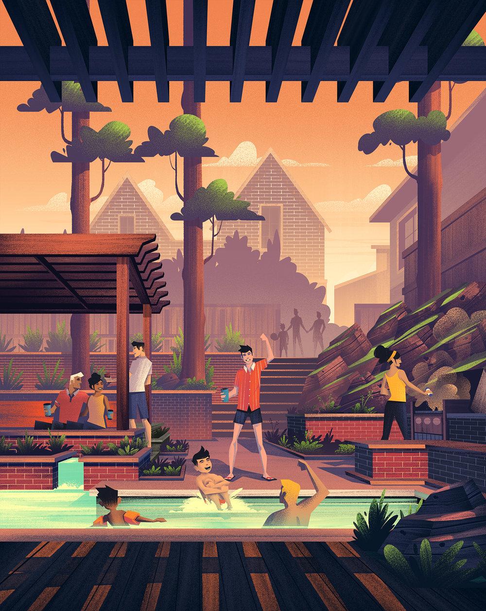 Oldetowne  · Full Summer Illustration