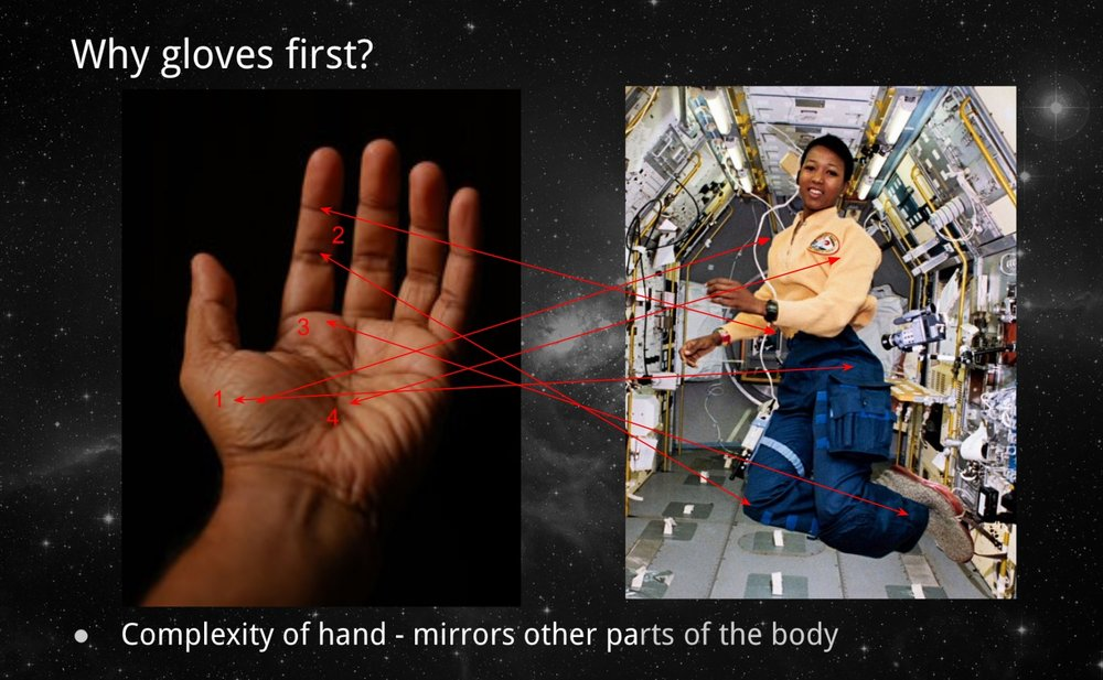 A slide from Kari's presentation explaining why gloves are often a starting point for new spacesuit technology