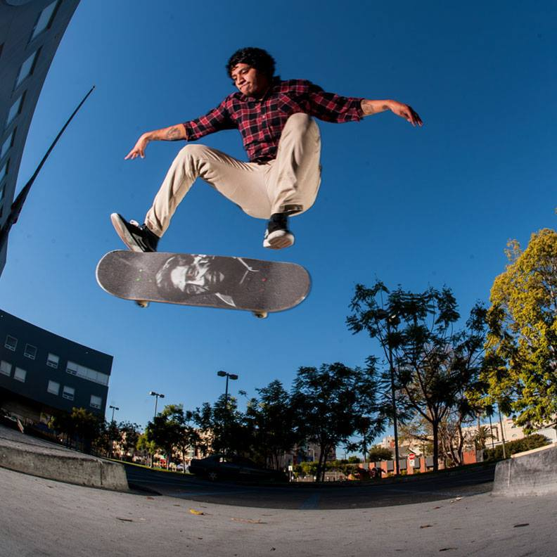 Victor Meza- Flat GapKickflip with the Cezar Chavez Grip on Cezar Chavez Blvd.