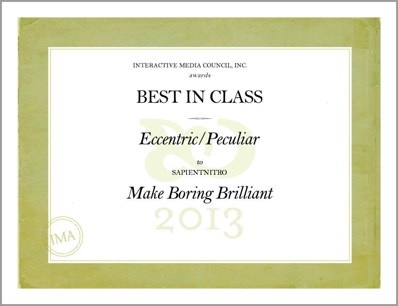 2013 INTERACTIVE MEDIA AWARDS - BEST IN CLASS - FOOD & BEVERAGE