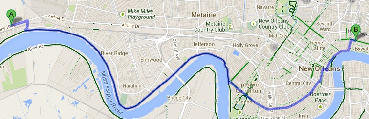 Return trip along bike trail on levee.  20.8 miles