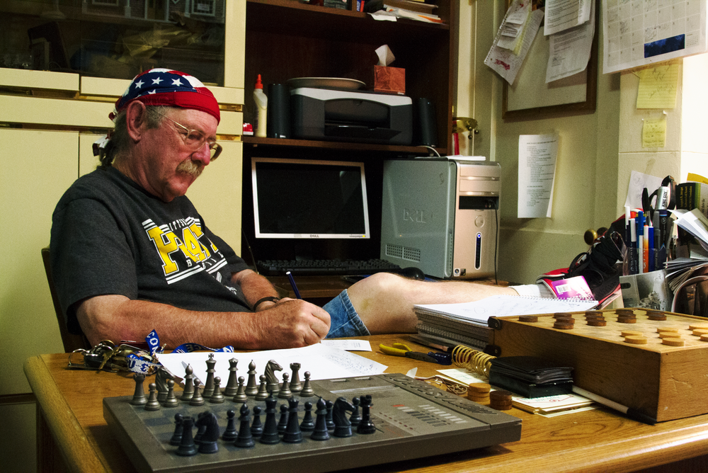 Terry Shuler, 68, who is a manager for the North Hampton Antiques And Pianos store located at    124 N Atherton St, State College, Pa. Terry was working on his desk in the antique shops on Sep, 9, 2014 at 4:55 p.m.