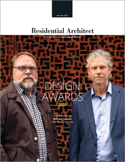 "Residential Architect Magazine  May/June 2013  ""Residential Architect Design Awards 2013""  by Bruce D. Snider, et. al.  Project feature: Four Eyes House   read more"