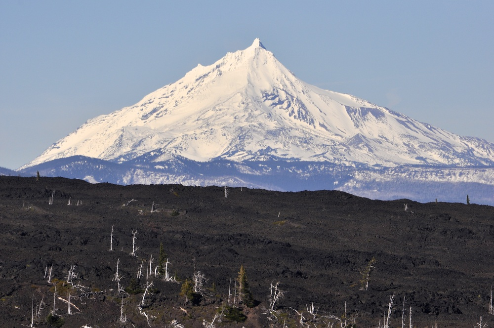 Mt. Jefferson shines in this telephoto shot. The tip of Mt. Hood could also be seen from the observatory.