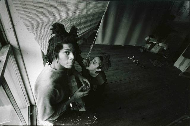 Basquiat and Madonna circa 1980's as part of the underground New York art and music scene years before they would become household names
