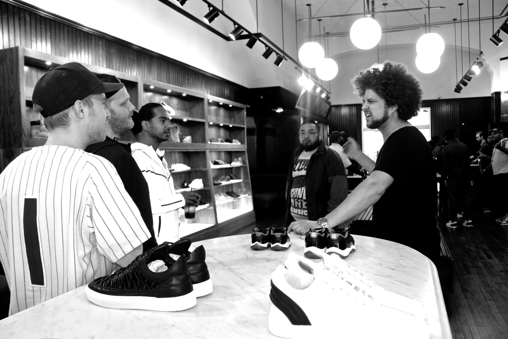 Owner Brian Nadav talking to the team at the Jordan Restock Event