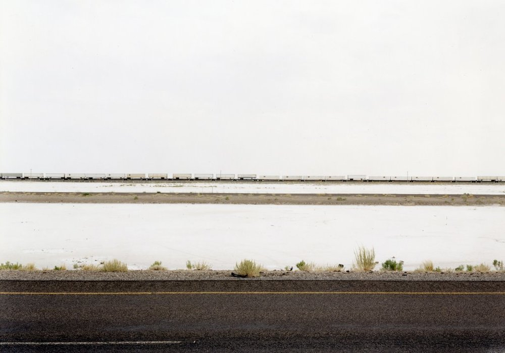 Untitled (White Trains on Salt Flats, I-80), Great Salt Lake Desert Utah