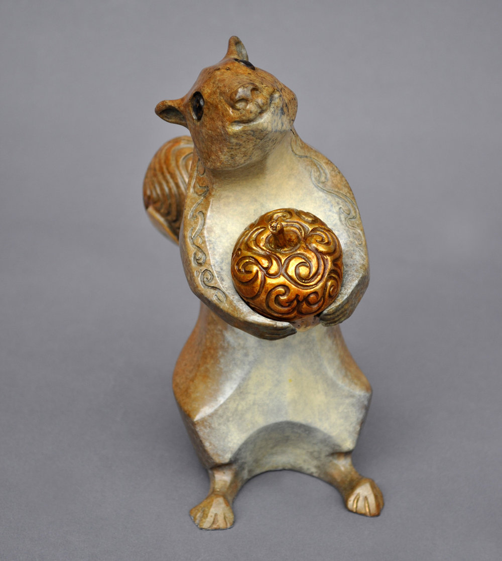 bronze squirrel sculpture john maisano 1