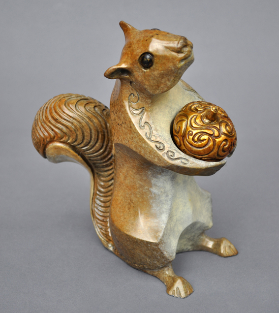 Bronze Squirrel Sculpture by John Maisano