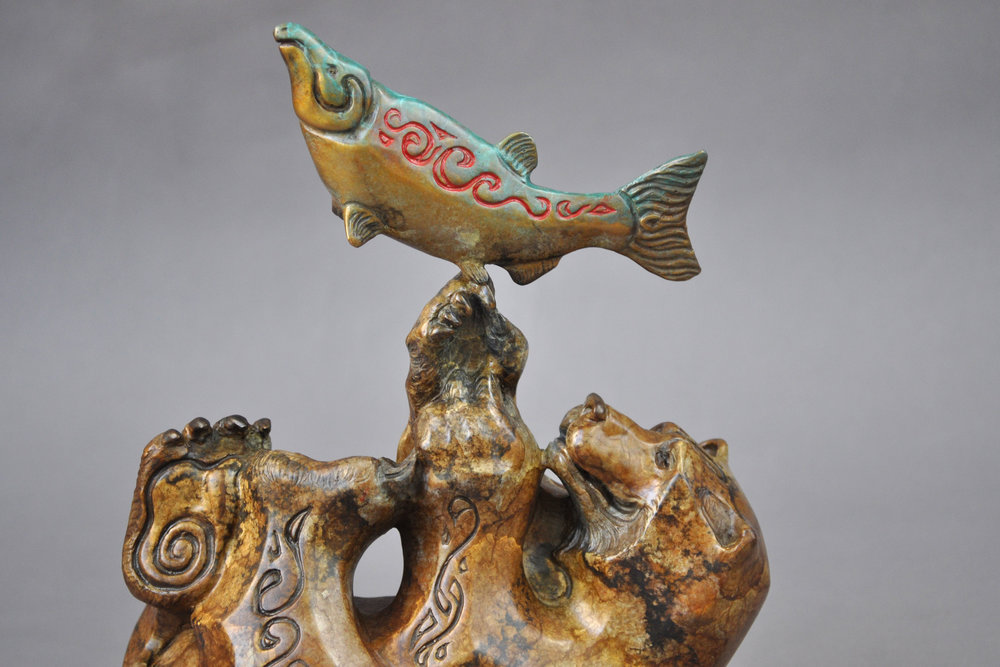 bear salmon bronze sculpture john maisano