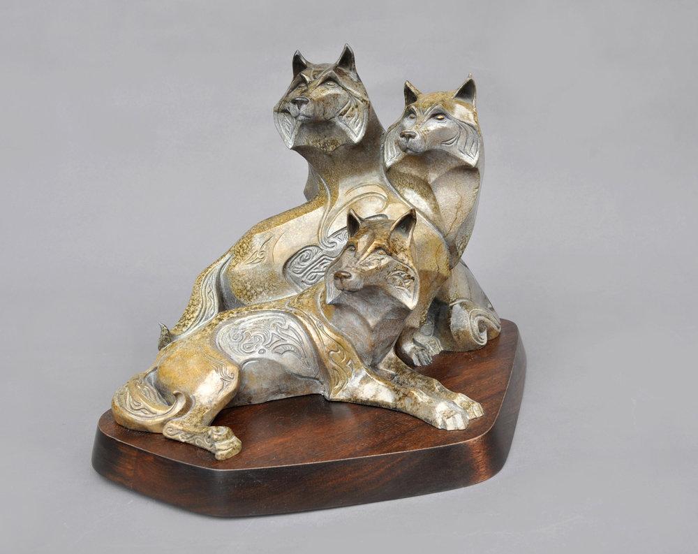 Bronze Wolf Sculpture John Maisano