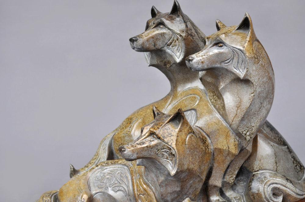 Bronze Wolves Sculpture by John Maisano
