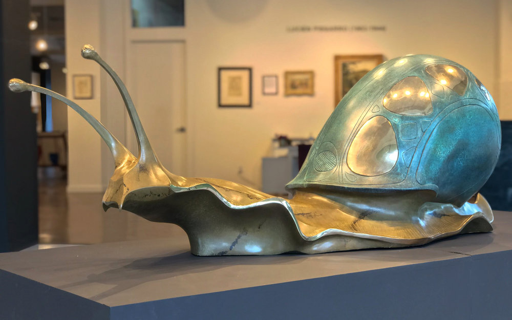 bronze snail sculpture slow journey john maisano