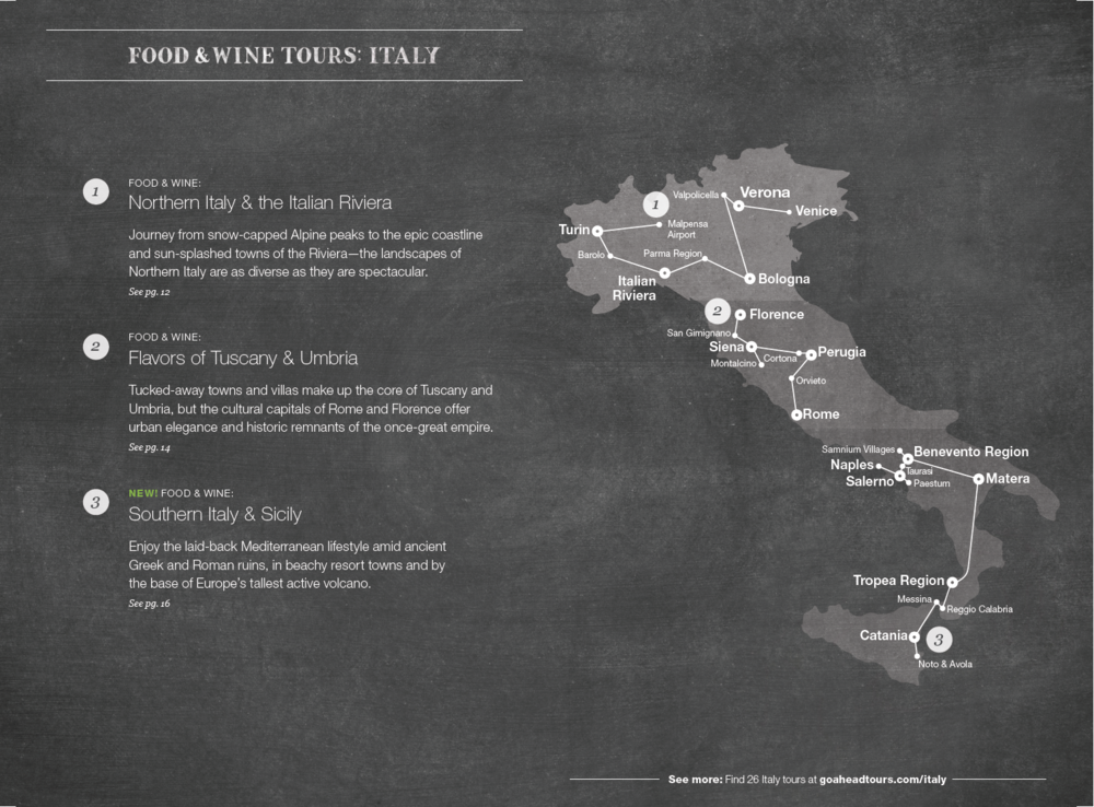Italy tours map spread (click to enlarge)