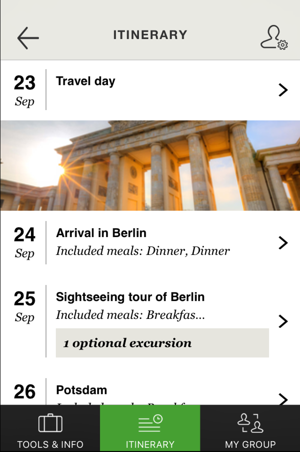 Main itinerary view (click to enlarge)