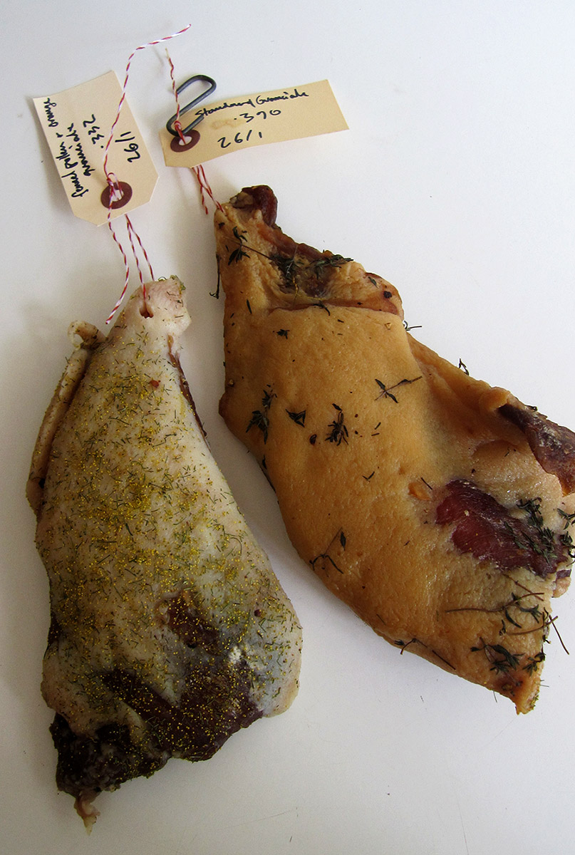 On the left is a variation of Guanciale coated in fennel pollen, on the right, the smoked version.