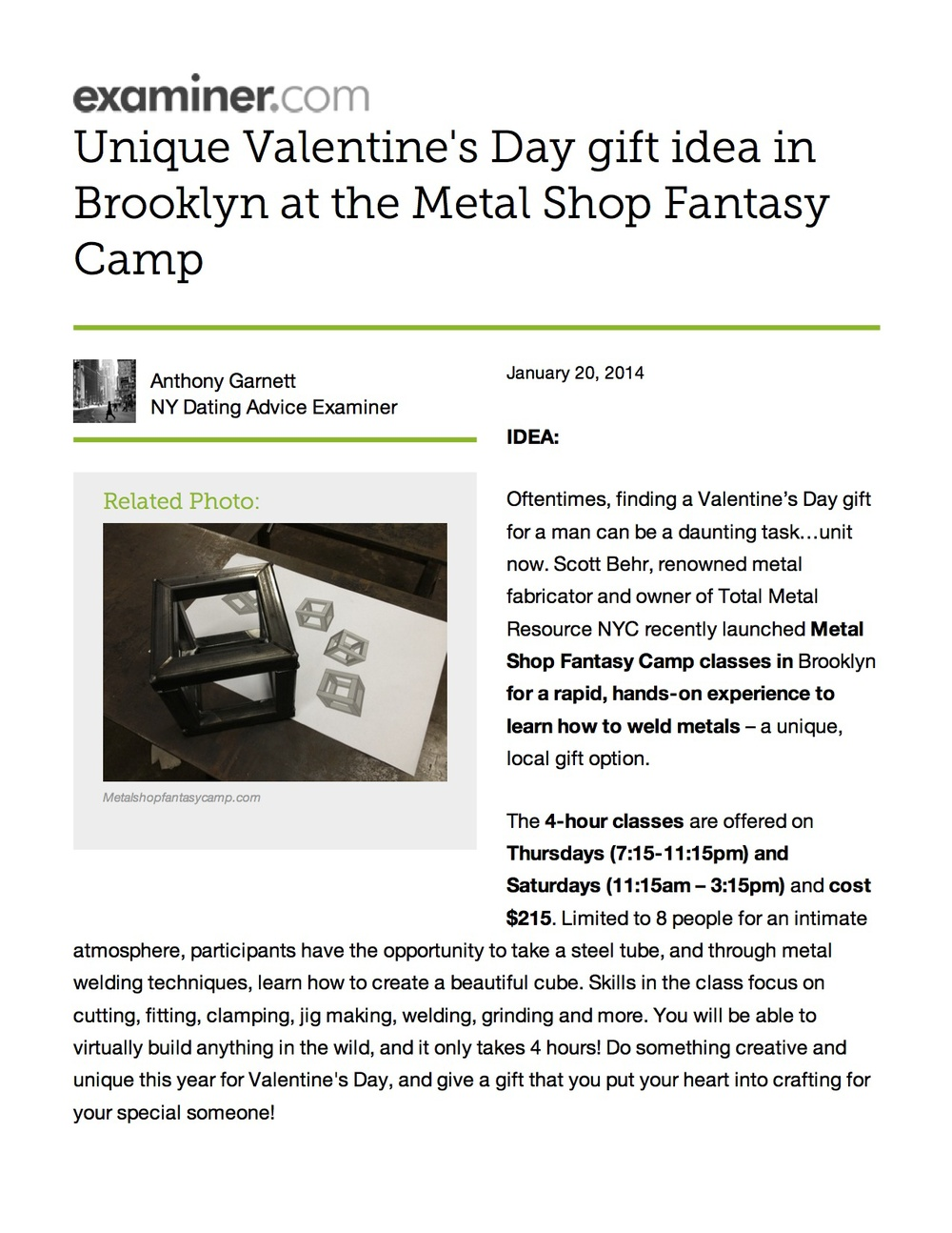 Examiner.com features Metal Shop Fantasy Camp as a unique Valentine's Day gift for your sweetie.
