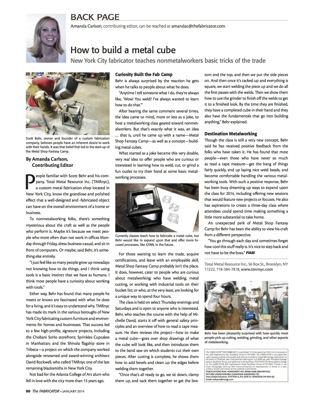 Metal Shop Fantasy Camp featured on the Back Page of   The Fabricator  .