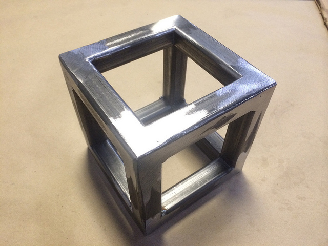 Exceptionally finished cube done in 4 hours by a student who has never welded before.