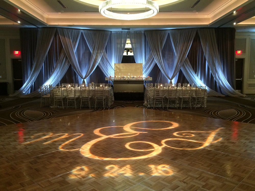 Up-Lights and Custom Dance Floor GOBO