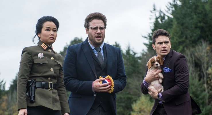 This is Sook (Diana Bang) with Aaron Rapoport (Seth Rogen) and Dave Skylark (James Franco) and a puppy. She is the only speaking Asian female character in The Interview, and that's just part of the problem.