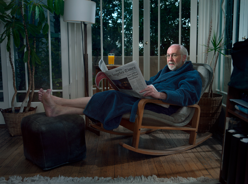 My dad, Tom, at home in his usual spot.  Hollywood, CA.  2010
