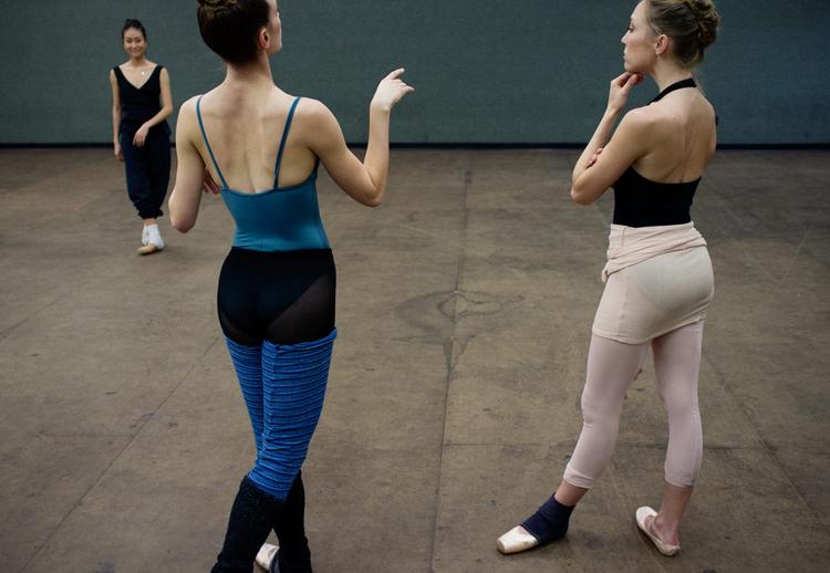 American Contemporary Ballet dancers in class. Los Angeles, CA. 2012
