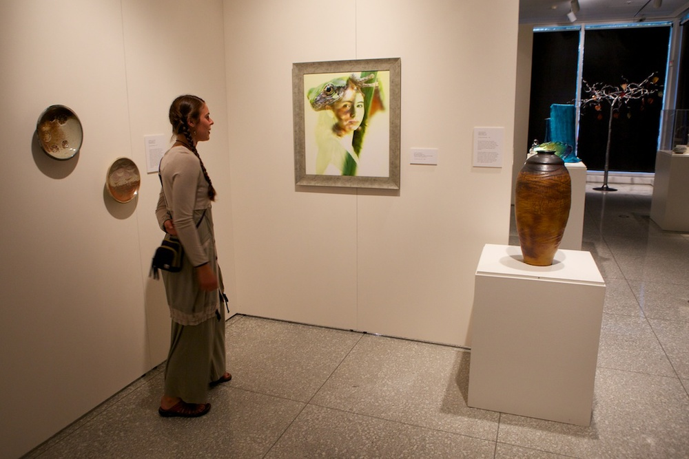 "Corinna Parish checking out ""Lois & Tree Frog"""