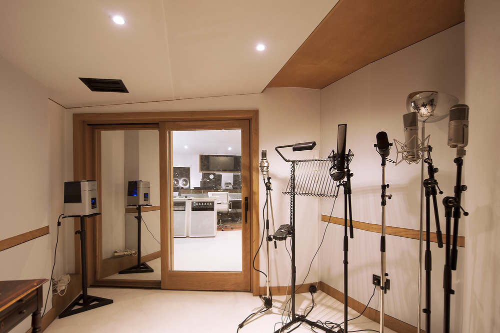 Vocal booth set up with our Brauner VMA, Rupert Neve RNR1,   Shure SM7, Neumann u87 and   Neumann u47.