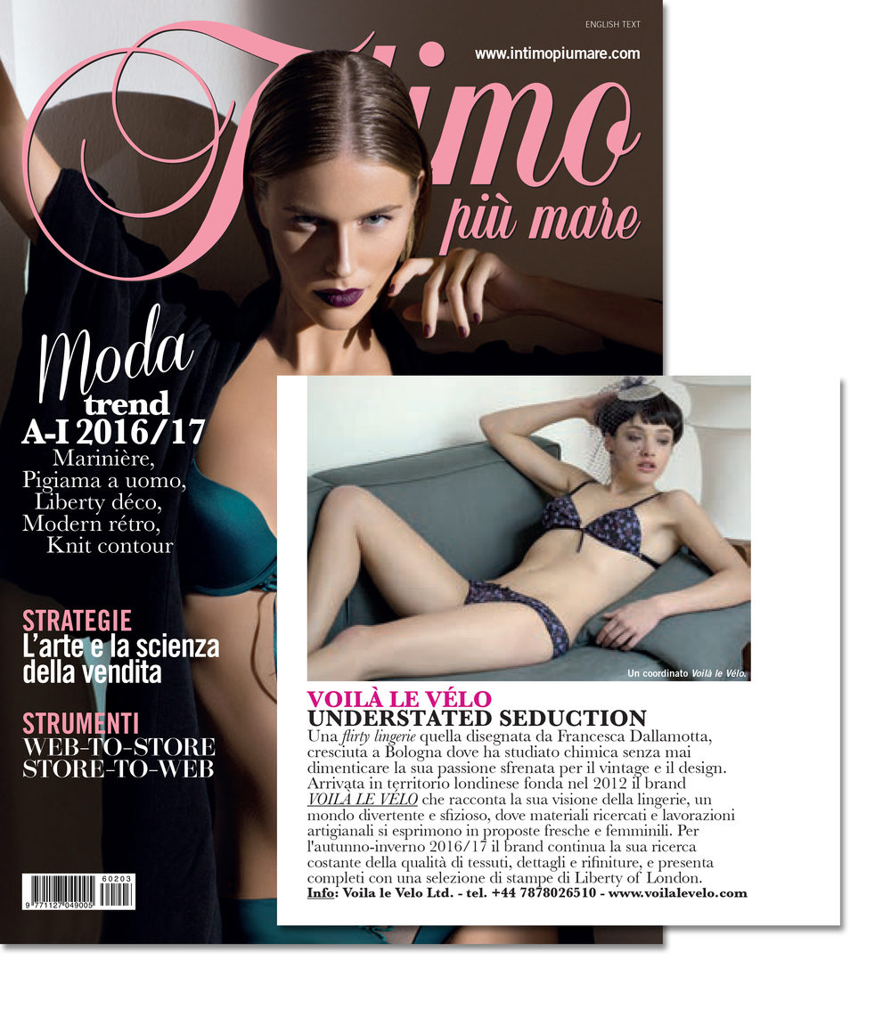 Nice coverage from Intimo più Mare, popular Italian intimate mag.