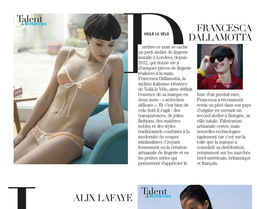 we have been selected by Intima Magazine France edition (the most influential intimate magazine in the world) as one of 10 best new Talents.