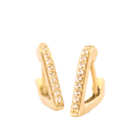 En Pointe Gold and Diamond Huggy Earrings