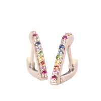 En Pointe Silver And Rainbow Huggy Earrings