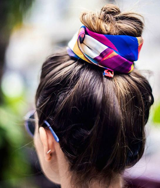 Silk Scarf styled in the hair