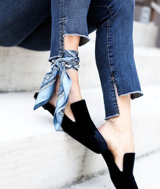 Silk Scarf wrapped round the ankle