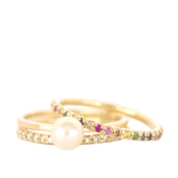 Gold and Rainbow Eternity Ring
