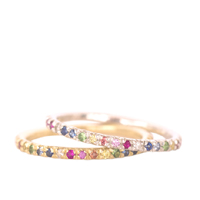 Gold and Silver Rainbow Eternity Rings