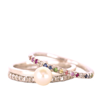 Silver Diamond, Pearl and Rainbow Eternity Ring