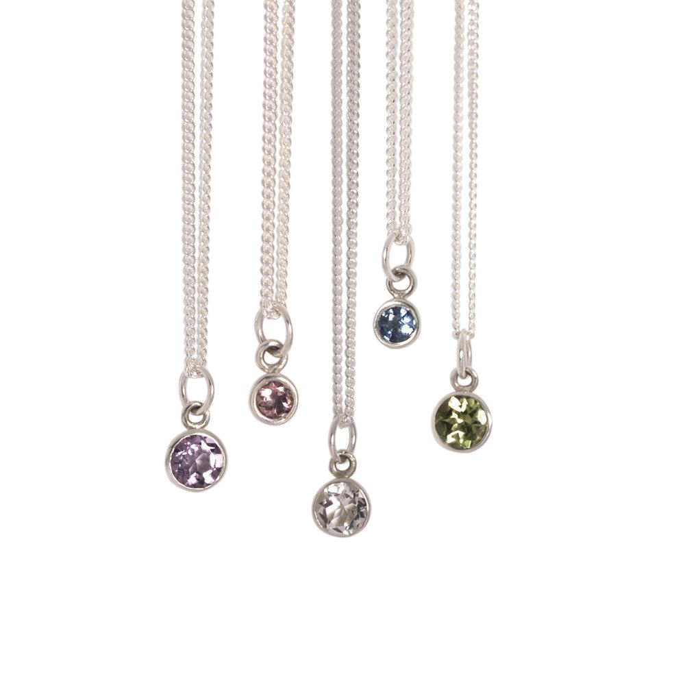 Silver Birthstone Necklaces