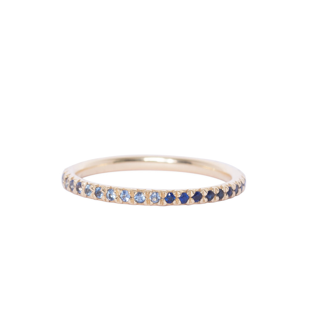 14ct gold and blue sapphire eternity ring