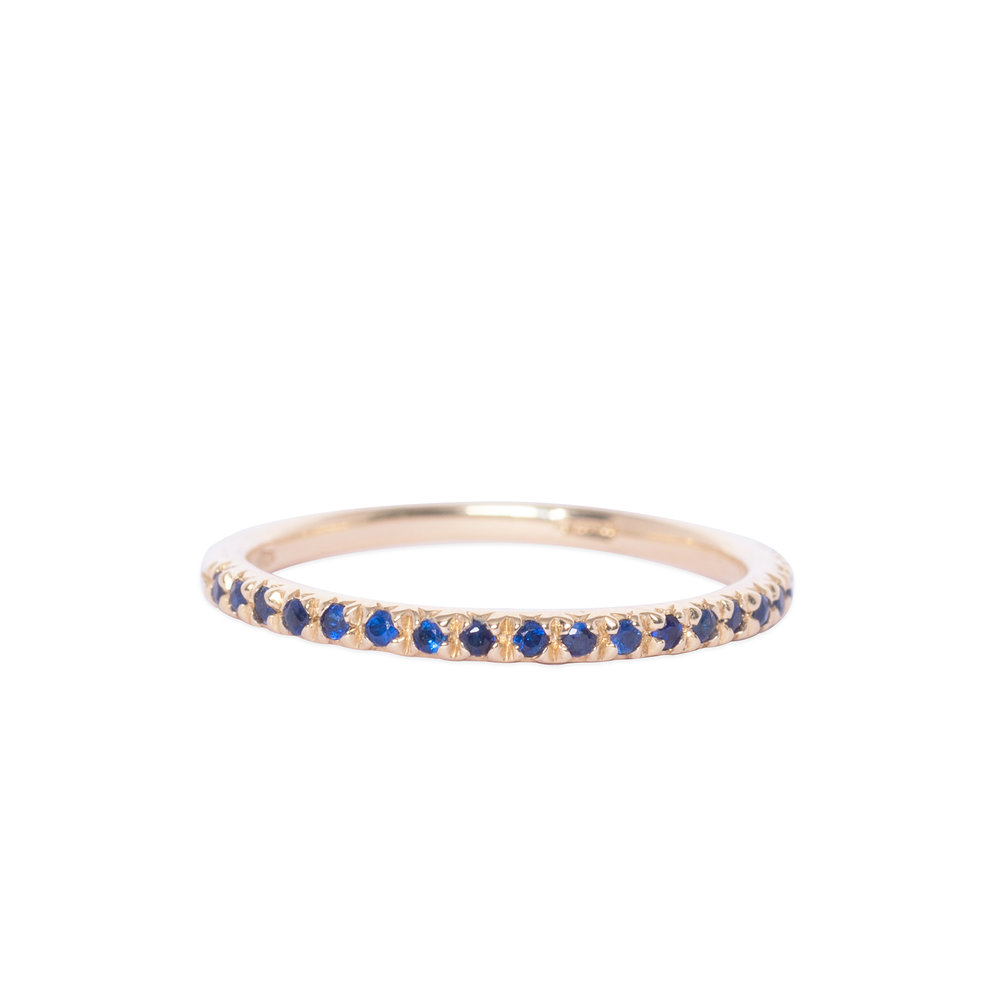 Gold and Blue Sapphire Half Eternity Ring