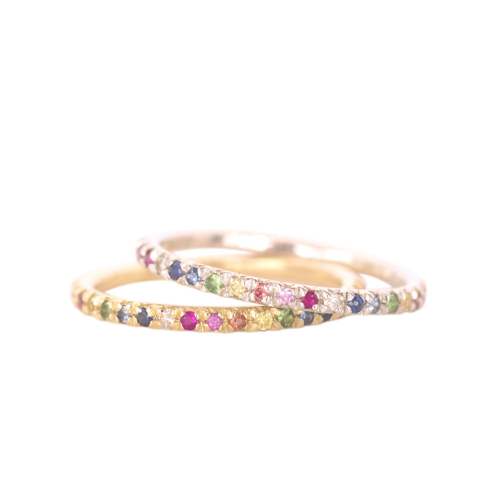 Rainbow Eternity Rings