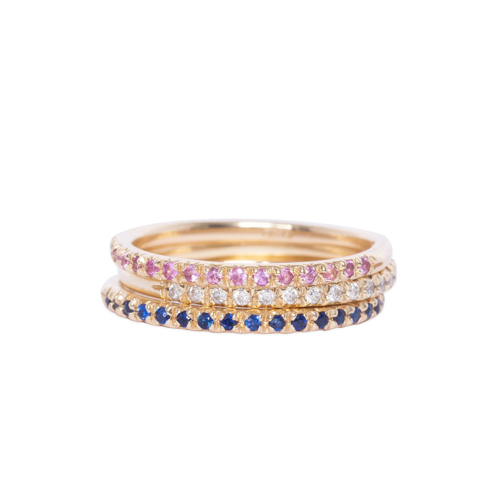 14ct gold half eternity rings