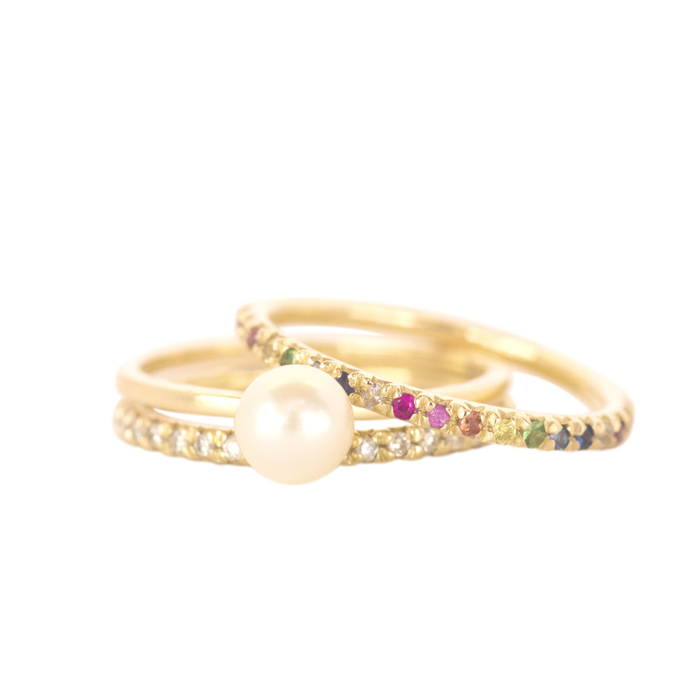 Gold Rainbow Eternity Rings