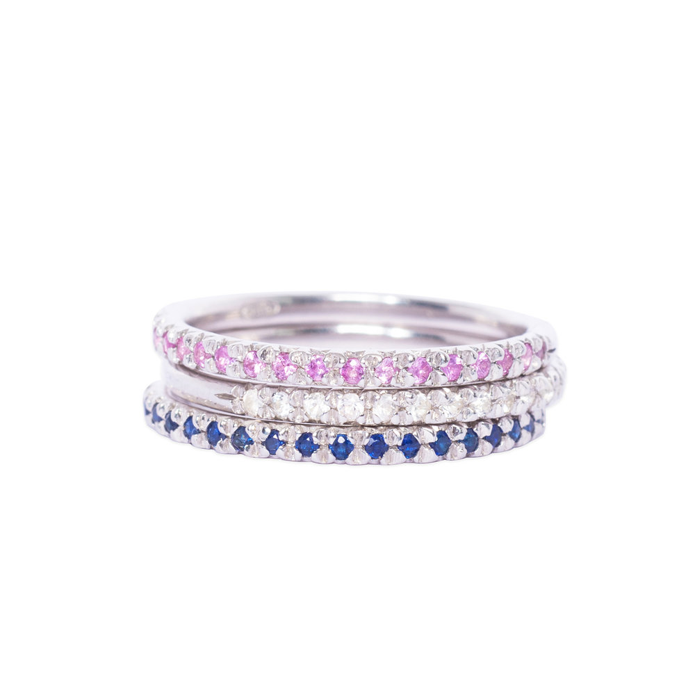 Silver and Sapphire Half eternity Rings